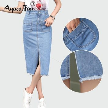 New Spring Summer Package Hip Skirt Slit Jeans Skirts Women Step Denim Skirt Slim Female Lady Waist Skirts Long skirts