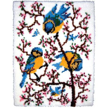 "Springtime Bluebirds Latch Hook Kit 27""X33"""