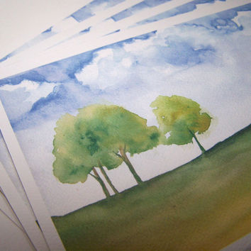Watercolor Landscape Cards Trees and Clouds Set