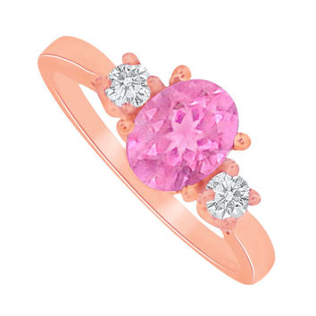 Oval Pink Sapphire CZ 3 Stone Rose Gold Vermeil Ring: RS4