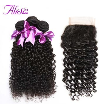 Alishes Buy 3 Hair Bundles Get 1 Free Closure Malaysian Curly Hair Bundles With Closure Bleached Knots Non Remy Hair 4PCS LOT