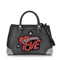 Philipp Plein  Designer Handbags Black Love Handbag