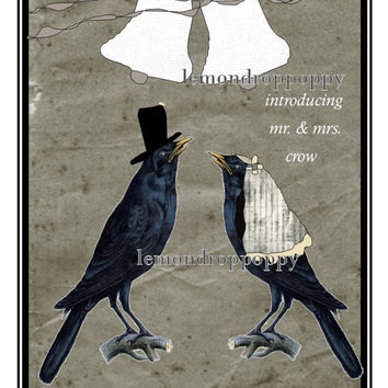 Crow art print, printable, wedding download, crow wall art, wedding gift, couples gift, unique newlywed gifts, rustic bedroom wall decor