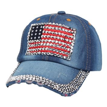 High Quality Baseball Cap Women Men Jean USA Flag Diamond set Snapback caps hats Sun Dad hat Cowboy Adjustable Casquette gorras