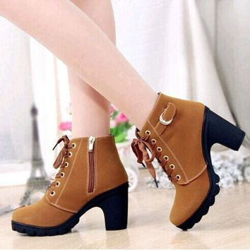 ca PEAPTM4 Women Platform High Heel Single Shoes Vintage Women Motorcycle Boots Martin Boots [8400946439]