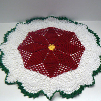 Crochet Poinsettia Doily Green White Red Yellow Hand Crocheted Doilie Holiday Christmas Flower Table Decor