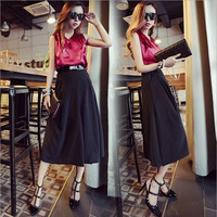 Pink Sleeveless V-Neck Top and Black Flared Leg Skirt Pants