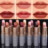 2017 Brand Pigment Makeup Nude Brown Lipstick Makeup Nude Lips Matte Velvet Lipstick Pencil Cosmetic Long Lasting Lip Tint