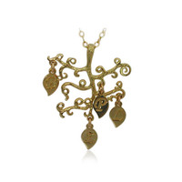 FamilyPersonalized Tree Pendant - 18k Gold Plated- Personalized Initials, Tree Monogram Jewelry Christmas Gift