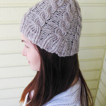 Light gray cable knit beanie, handmade beanie, women clothing, winter accessories, oatmeal wool