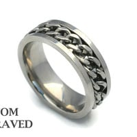 Engraved Stainless Steel Ring - Engraved Steel Chain Ring - Personalized Ring - Custom EngravedChain Ring - Gift for Him -Custom SS Jewelry