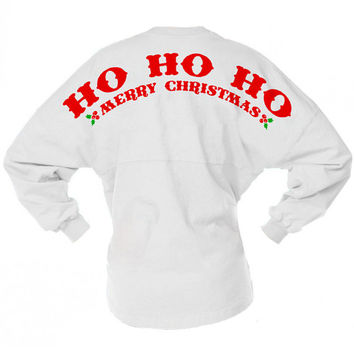 Ho Ho Ho Merry Christmas Game Day Jersey, College Girl Christmas, Santa Long Sleeve Spirit Jersey, Christmas Party Shirt, Holiday Party