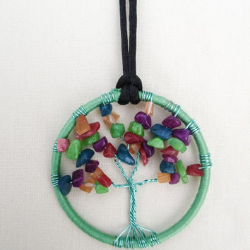 Tree of life hanging decoration-2.5 inch-for home, office, or vehicle-sea green hoop-aqua wire tree-semi precious jade stone mix branches