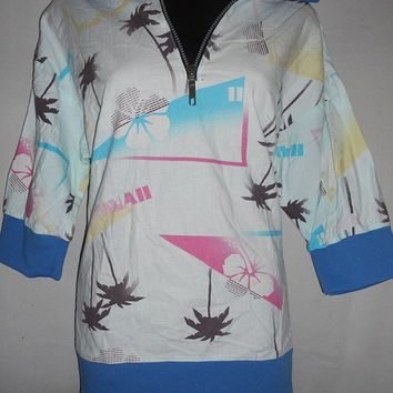 Vintage 80s Hawaii Print Handmade Pullover Retro New Wave Summer Windbreaker Shirt Collared Pastel Palm Trees Fabric