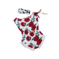 Girls 2 PC Floral Cotton Romper, Set Includes Romper and Headband, Size 6 -24months