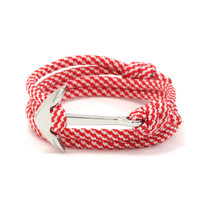 Silver Anchor on Candy Cane Rope