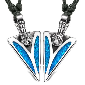 Arrowhead Grizzly Bear Head and Paw Love Couples BFF Set Amulets Simulated Turquoise Adjustable Necklaces