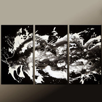 Abstract Canvas Art Painting Huge 3pc 72x36 Original Black & White Art by Destiny Womack - dWo -  UNTAMED