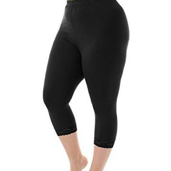 Zerdocean Womens Plus Size Modal Basic Capri Leggings with Hem Lace Trim