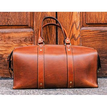 ea6ebfdf9345 1920 Overnight Duffel Bag (Rio Latigo Leather)