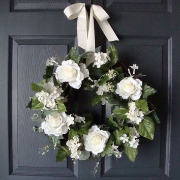White Rose Spring Wreath, Spring Wreaths, Front Door Wreath Spring, Spring Wreath Front Door, Summer Wreath, Etsy Wreath, Year Round Wreath