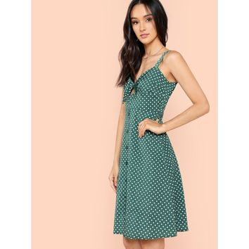 Green Knot Front Button Up Dress