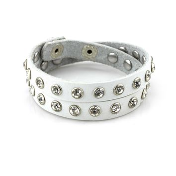 Balla White Studded Leather Wrap Bracelet with Strength Crystals