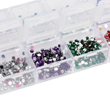 3000pcs 2mm Round Rhinstones 12 Colors Hard Case Nail Art Tips Nails Tools Nail Art Rhinestones Decorations