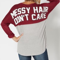 Burgundy Messy Hair Blocked Top | Graphic Long Sleeve Tees | rue21