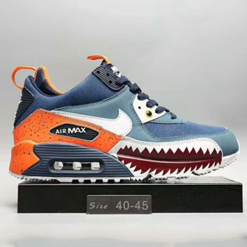 NIKE AIR MAX90 Fashion Men Running Sport Casual Shoes Sneakers Blue-Orange G-A0-HXYDXPF