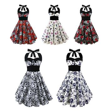 Summer New S-5XL Large Size Printed Dress Women Punk Strapless Halter Party Dresses Bowknot Self Gothic Vestidos Clothing Swing