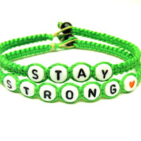 Stay Strong Bracelet Set, Neon Green Bamboo Jewelry, Made to Order