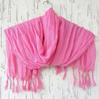 Handwoven infinity scarf,  Neon Pink Scarves, Natural,Organic Scarf, Fashion accessories, Women Scarves