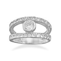 Rhodium Plated 2 Row Cubic Zirconia Ring with 6mm Bezel Cubic Zirconia Center