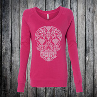 Sugar Skull Shirt Embellished in Rhinestone Bling - Women's Clothing