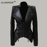 Women Leather Jacket Spliced Snake Doulbe Lapel Shrug Shoulder Pads Faux Leather Biker Jacket Zipper Exposed Asymmetric Jackets