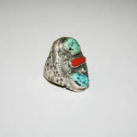 Men's Size 12.25 Vintage Sterling silver with Turquoise and Coral | Free US shipping