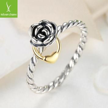 Size 8 925 Sterling Flower Rings Compatible With European Fit Original Pandora Engage