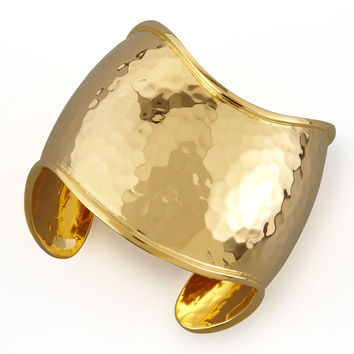 22k Gold-Plate Hammered Curve Cuff - NEST Jewelry