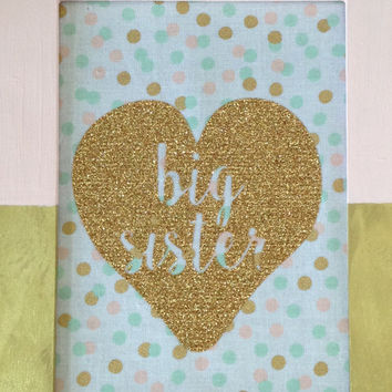 Big Sister gift - Gold and light pink Wooden frame for hanging - Girl room - Trendy - Baby - April Gift - Wallpiece