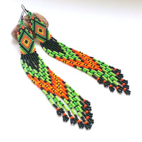 Extra Long Seed Bead Earrings-Ethnic Dangle Long Beaded Earrings-Very Long Earrings With Fringe-Ethnic Beadwork-Beadwoven Long Earrings