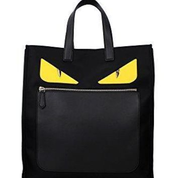 Fendi Men's 'bag Bugs Eyes' Front Zippered Nylon Tote With Leather Edges/handle Black Yellow