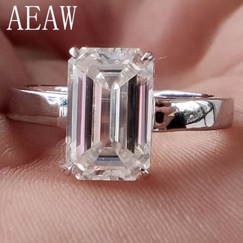 3 Carat ct 7x11mm DF Grade Emerald Cut Engagement&Wedding Moissanite Lab Diamond Ring in 18K Plated Sterling Silver