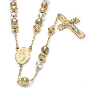 Gold Plated 09.08.0001.2.30 Medium Rosary, Guadalupe and Crucifix Design, Polished Finish, Tri Tone