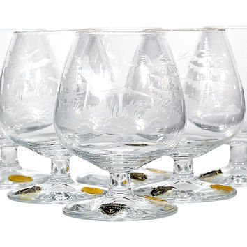 1950s German Crystal Brandy Snifters,S/6