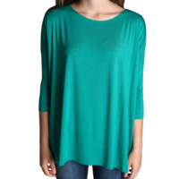 Green Piko 3/4 Sleeve Top