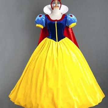 Princess snow white cosplay costume headband cloak snow white dress Adult Snow White Costume Carnival Halloween CostumesXC-7064