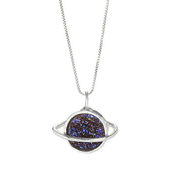 Saturn Sparkles Necklace | Druzy, Silver Jewelry