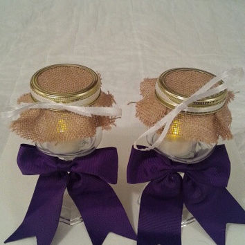 Burlap purple white wedding candle jar / center piece set. Any color to match your wedding