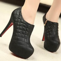 High Heel Fashion Womens Platform Pumps Pu Leather Ankle Boots
